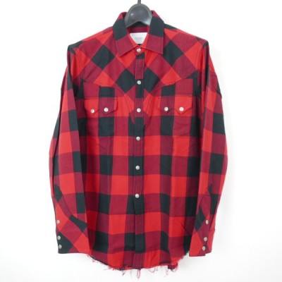 18AW 18FW The Letters ザ レターズ Western Harry Shirt. Buffalo Check Flannel 長袖 ウエスタン チェック ネルシャツ RED/BLACK S