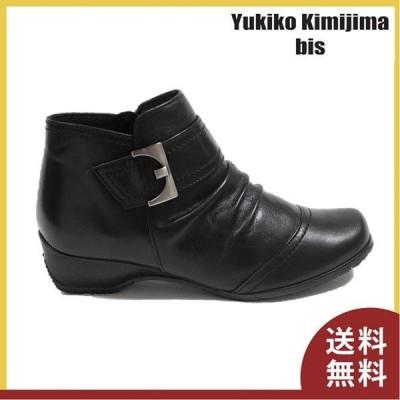 ブーツ レディース ユキコキミジマ ショートブーツ 低ヒール お洒落 仕事  Yukiko Kimijima 7666 ブラック
