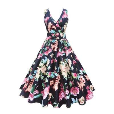 レディースファッション パーティードレス 2次会 花柄 大柄 ブラック 華やか