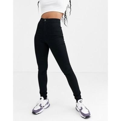 ノイジーメイ レディース デニムパンツ ボトムス Noisy May high waisted shaping skinny jeans in black
