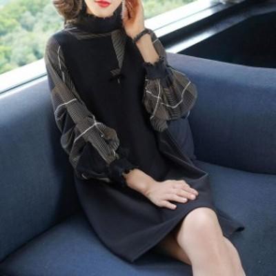 ワンピース ゆったり 体型カバー 長袖 立ち襟 パフスリーブ 30代40代50代 ミニ丈 お洒落 レディース ONEPIECE ワンピース
