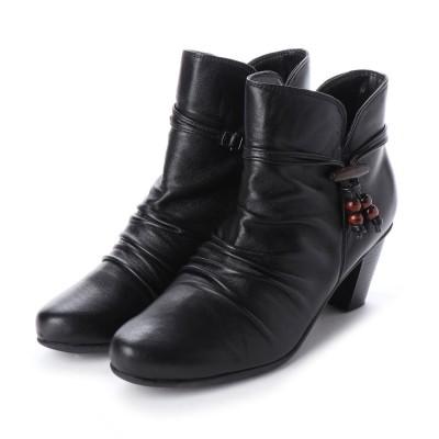 ユリコ マツモト yuriko matsumoto ブーツ ショートブーツ 外反母趾 シャーリング 日本製 本革 アクセサリー取り外しできます アクセサリ 木製 (BL)