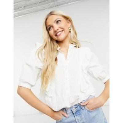 ニュールック レディース シャツ トップス New Look frill front blouse in white White