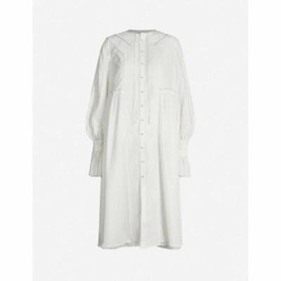 レンリ スー RENLI SU レディース ワンピース ミドル丈 ワンピース・ドレス Gathered-waistband flared-skirt cotton midi dress White