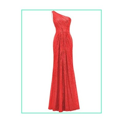 SOLOVEDRESS Women's Mermaid One Shoulder Sequined Long Bridesmaid Dresses Wedding Party Gown (US 16 Plus,Red)並行輸入品