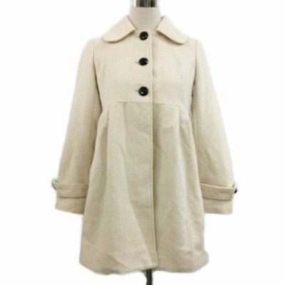【中古】ビス ViS コート シングル ハーフ タック ノーカラー 2way 長袖 M 白 ホワイト レディース