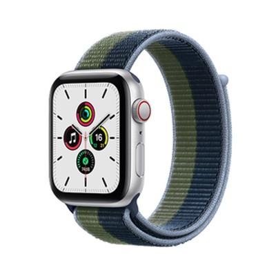 Apple Apple Watch SE(GPS + Cellularモデル)- 44mm シルバーアルミニウムケースとアビスブルー/モスグリーンスポーツループ MKT03JA