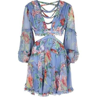 ジマーマン Zimmermann レディース ワンピース ミニ丈 ワンピース・ドレス Bellitude Floral-Print Silk Mini Dress Blue