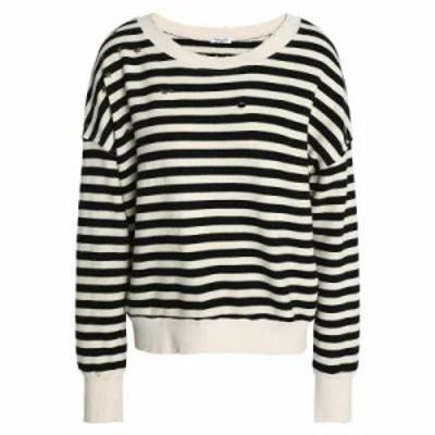 スプレンディッド ニット・セーター Studded distressed striped cotton-blend sweater Ecru