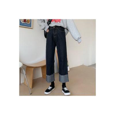 【送料無料】ブラック 古い ? パンツ 秋 韓国風 ハイウエストのジーンズ 女 着や | 346770_A63568-5637105