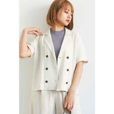 ◆麻レーヨンコンパクトダブルジャケット オフ