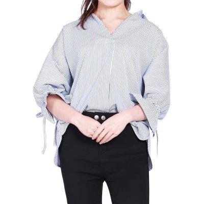 在庫一掃セール!! シャツ ブラウス レディース ストライプ 半袖 Tシャツ ストライブ Vネック トップス 体型カバー ゆったり ボーダー柄シャツ 韓国風