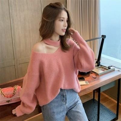 新品入荷 新作 韓国ファッション 長袖 ゆったりする セーター sweet系 個性的なデザイン トップ