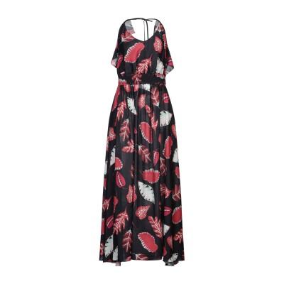 LANACAPRINA ロングワンピース&ドレス ブラック 42 レーヨン 100% / ポリエステル ロングワンピース&ドレス