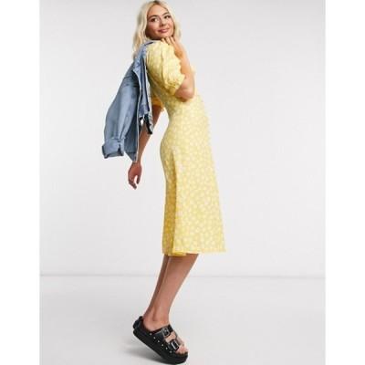 モンキ レディース ワンピース トップス Monki Avril button floral midi dress in yellow