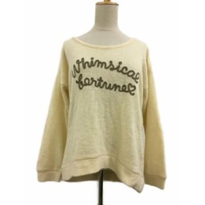 【中古】オリーブデオリーブ OLIVE des OLIVE セーター ニット Uネック 刺繍 長袖 ベージュ レディース