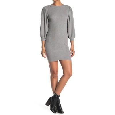 アールディスタイル レディース ワンピース トップス Puff Sleeve Ribbed Sweater Dress GREY MEL
