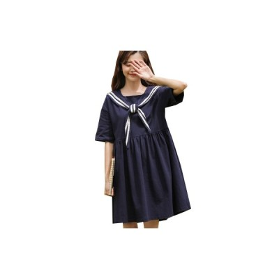ワンピース レディース ドレス 半袖 ショート ミニ セーラー 可愛い ハイウエスト ゆったり 無地 可愛い 着痩せ 旅行 二次会 夏