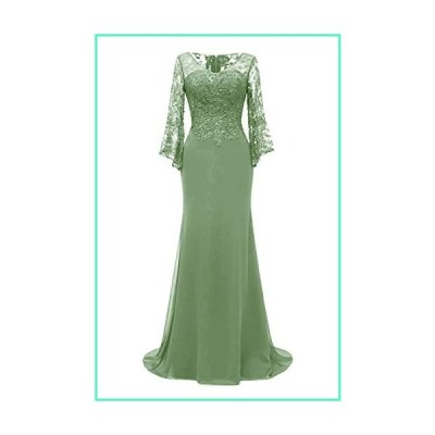 PearlBridal Women's Bodycon Mermaid Mother of The Bride Dresses Lace Ruffle Sleeves Long Evening Party Gown Sage Size 14並行輸入品