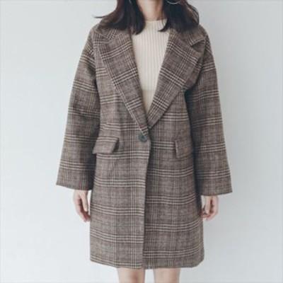 チェック 格子 ミディアム丈 ジャケット アウター コート レディース 長袖 シングル シングルボタン Vネック ゆったり 人気 売れ筋 シン
