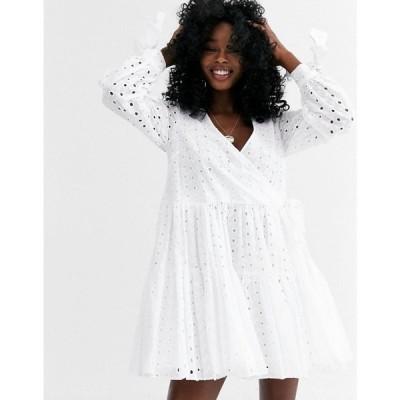 エイソス ASOS DESIGN レディース ワンピース ラップドレス Aライン Asos Design Tiered Trapeze Wrap Mini Dress In Broderie In White ホワイト
