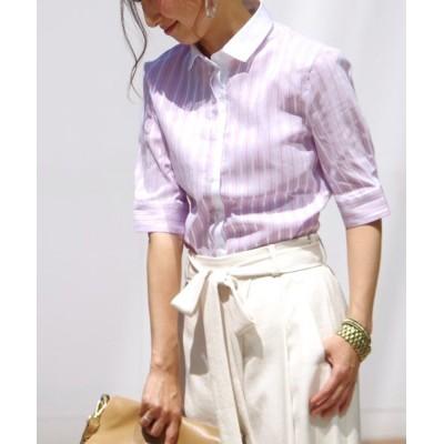 【ナラカミーチェ】 コントラストストライプ別布使い半袖シャツ レディース パープル系 1 NARA CAMICIE