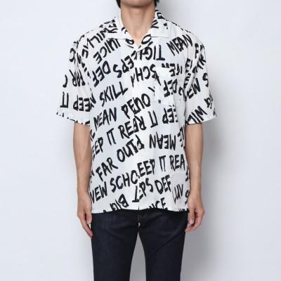 スタイルブロック STYLEBLOCK 総柄ロゴプリント半袖オープンカラーシャツ (オフホワイト)