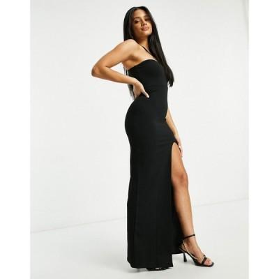 アイソウイットファースト I Saw It First レディース ワンピース マキシ丈 Sweetheart Double Strap Split Leg Maxi Dress In Black ブラック
