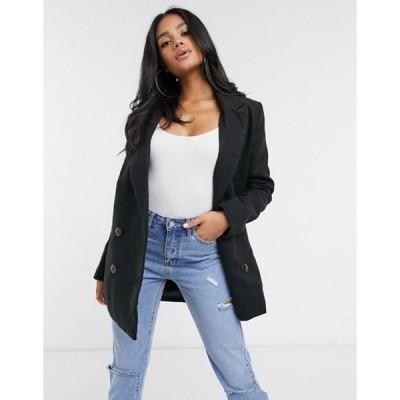 ミスガイデッド レディース コート アウター Missguided longline coat with faux tortoise shell buttons in black