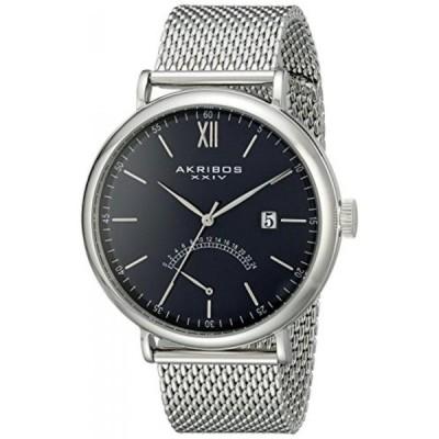 """アクリボス XXIV 腕時計 メンズウォッチ Akribos XXIV Men's AK731BU """"Essential"""" Silver-Tone Stainless Steel Watch with Mesh Bracelet"""
