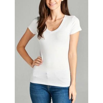 レディース 衣類 トップス Womens T-shirt Top Short Sleeve V Neck Stretchy White VNECK Tシャツ