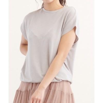 tシャツ Tシャツ フレンチスリーブ Vネックサマーニットノースリーブ Tシャツ