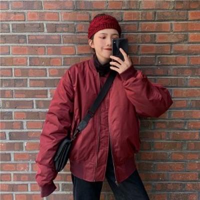 ブルゾン ジャケット MA1 かっこいい カジュアル ミディアム レッド ワインレッド ブラック 赤 黒 シンプル 無地 全2色 ジッパー コット