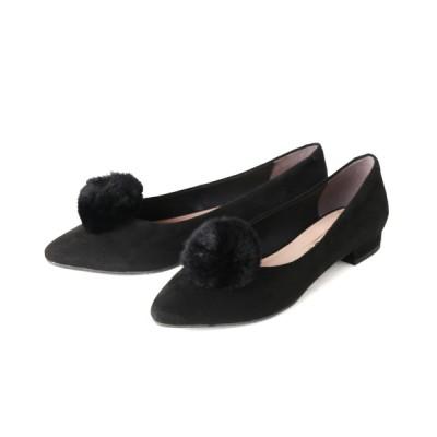 ANDEX shoes product / coca / コカ ポンポンファー付き ソフトポインテッドトゥ ローヒール パンプス 419002 WOMEN シューズ > パンプス
