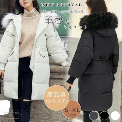 軽量ロング中綿ジャケットレディース冬服暖かい ロング丈中綿大きいサイズ綿コートアウターダウン調 大きいサイズ ゆったり  冬 暖か