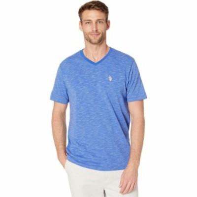 ユーエスポロアッスン U.S. POLO ASSN. メンズ Tシャツ Vネック トップス Space Dyed V-Neck T-Shirt Wedding Blue