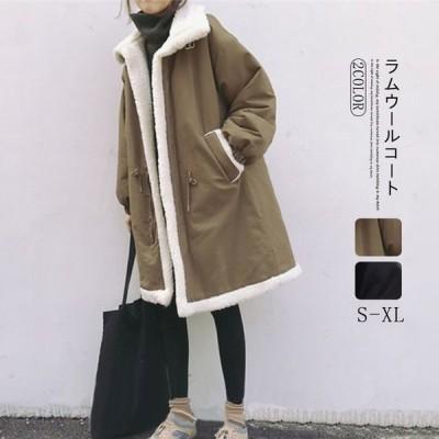 2020年秋冬パッド入りコート女子ミドル丈韓国風ルーズ厚ラムウールコート冬プラスベルベットコットンコート