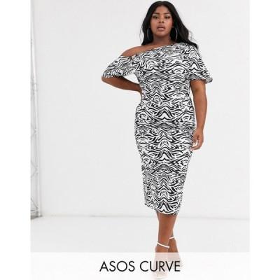 エイソス ASOS Curve レディース ワンピース ワンピース・ドレス asos design curve pleated shoulder pencil dress in zebra print モノゼブラ