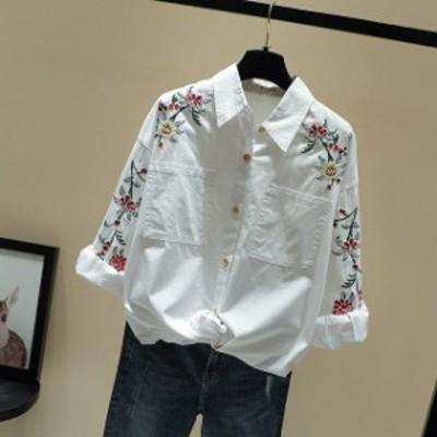 大人カジュアルデニムシャツ エレガント シンプル ボヘミアン 花柄刺繍 レディース 大きいサイズ 20代 30代 40代 オフィス 女子会