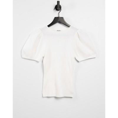 ミスガイデッド レディース カットソー トップス Missguided top with puff sleeves in white White