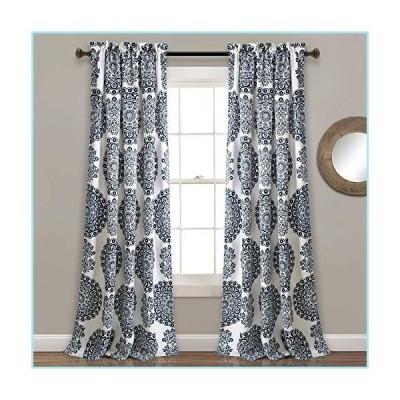 """新品Lush Decor 16T004086, Navy Evelyn Medallion Room Darkening Window Curtain Panel Pair, 84"""" x 52"""" + 2"""" Header"""