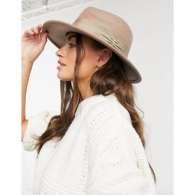 エイソス レディース 帽子 アクセサリー ASOS DESIGN felt fedora hat with wide band and size adjuster in mink Mink