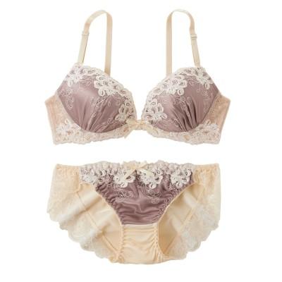 カラーサテン×ベージュレース ブラジャー。ショーツセット(C75/M) (ブラジャー&ショーツセット)Bras & Panties