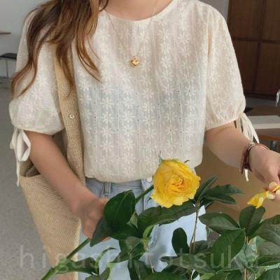 ブラウス レース レディース トップス 半袖 花柄 刺繍 ケミカルレース シースルー リボン付き 韓国ファッション メール便