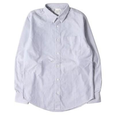 visvim ヴィズビム シャツ 小花柄 切替 オックスフォード ボタンダウンシャツ ALBACORE PIZI L/S GIZA ブルー ネイビー 1 【メンズ】【中