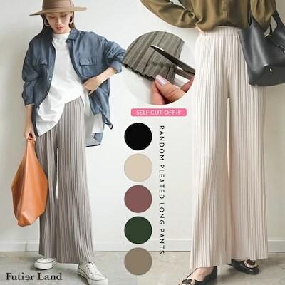即納 / 韓国 ファッション / ランダムプリーツロングパンツ
