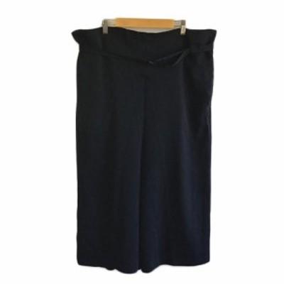 【中古】ケイビーエフ パンツ サルエル ワイド クロップド ベルト付き ONE 紺 黒 ネイビー ブラック