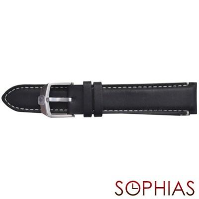 スイスミリタリー 純正 腕時計 替えベルト ファントム クロノ ブラック レザー 20mm幅 正規輸入品