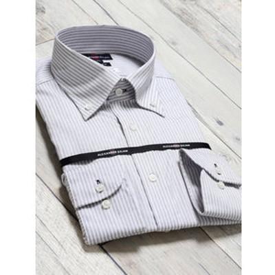 綿100% 形態安定 スリムフィット ボタンダウン長袖ビジネスドレスシャツ/ワイシャツ