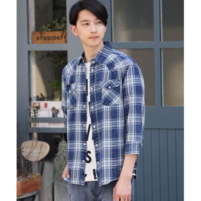 (TopIsm/トップイズム)7分袖&長袖インディゴ先染めチェックシャツ/メンズ ネイビー